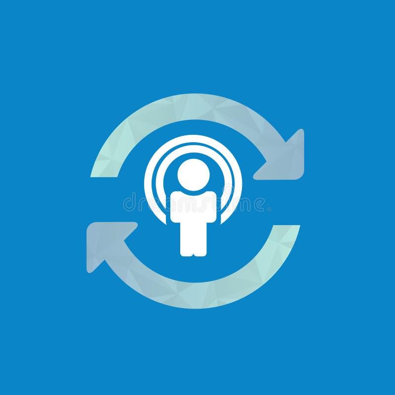 同步用户象,与人的更新象在中心 向量例证