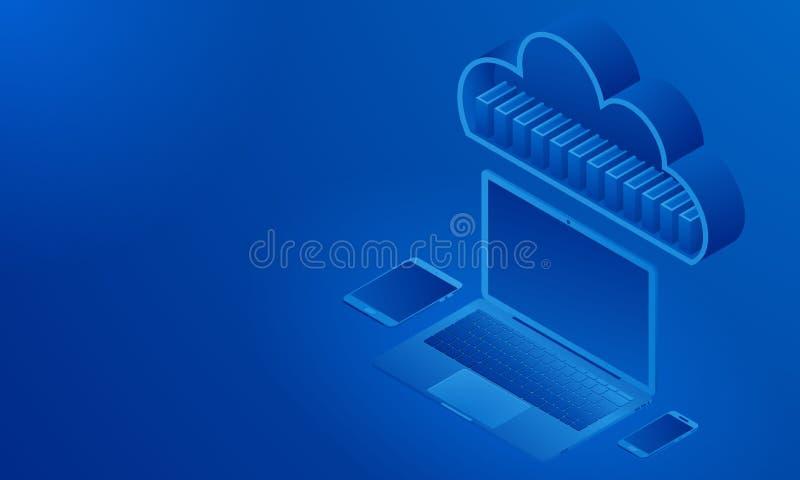 同步的设备等轴测图,云彩存贮,与文件的文件夹 库存例证