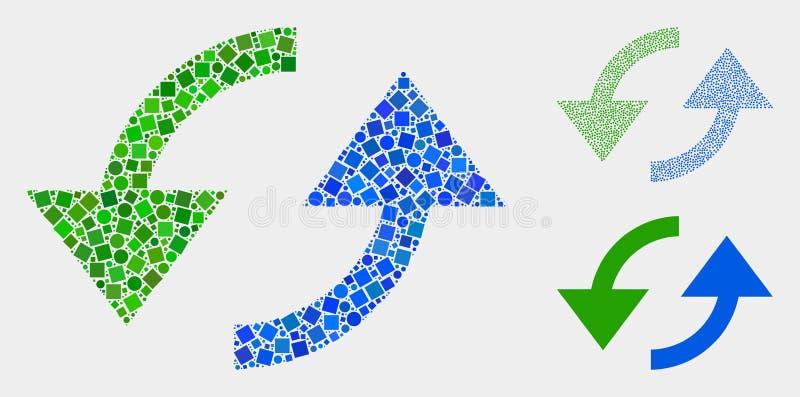 同步箭头正方形和圈子象马赛克  向量例证