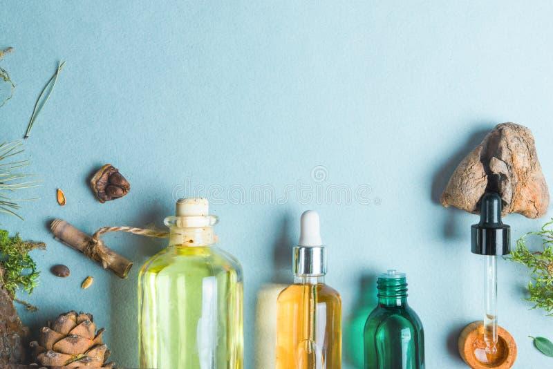 同种疗法油,小肠健康自然化妆用品的,护肤的油膳食补充剂在轻的背景 库存图片