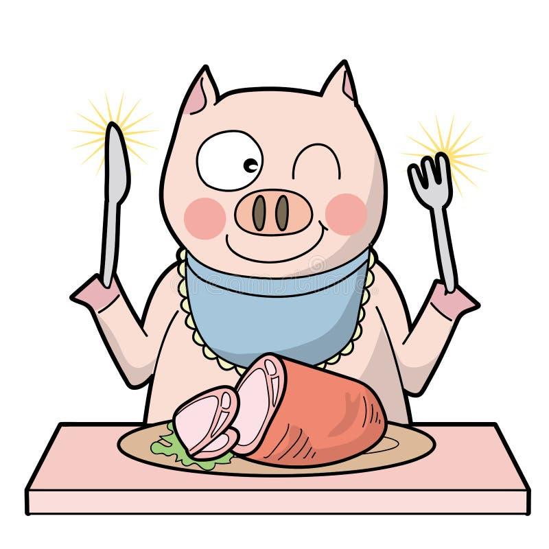 同类相食-猪-微笑类型 皇族释放例证