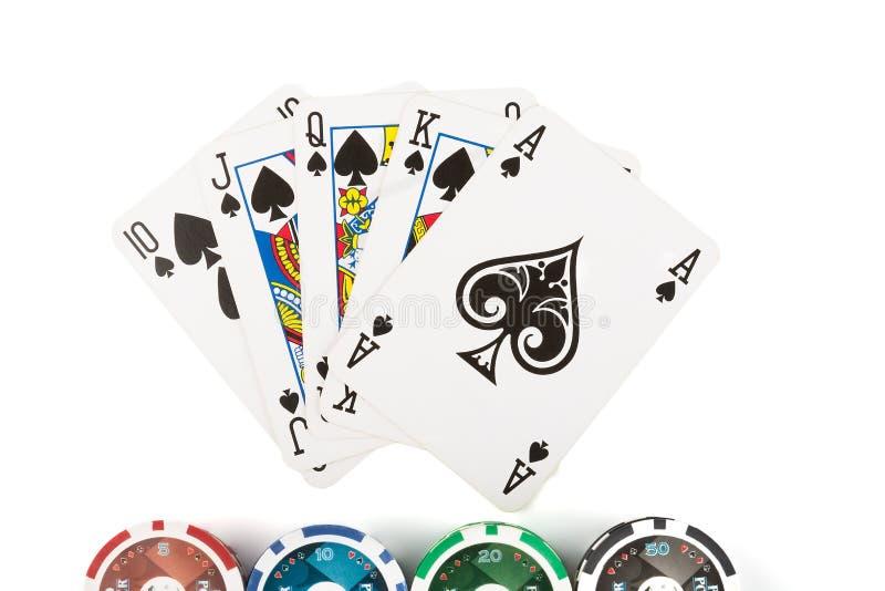同花大顺和赌博娱乐场赌博的芯片 库存照片