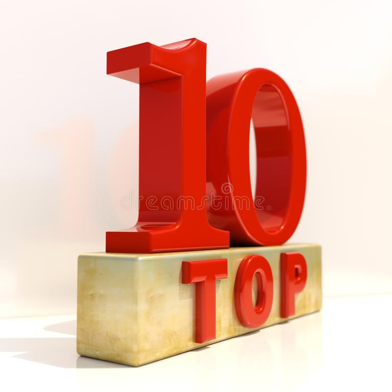 名列前茅10 3D规定值标志 向量例证