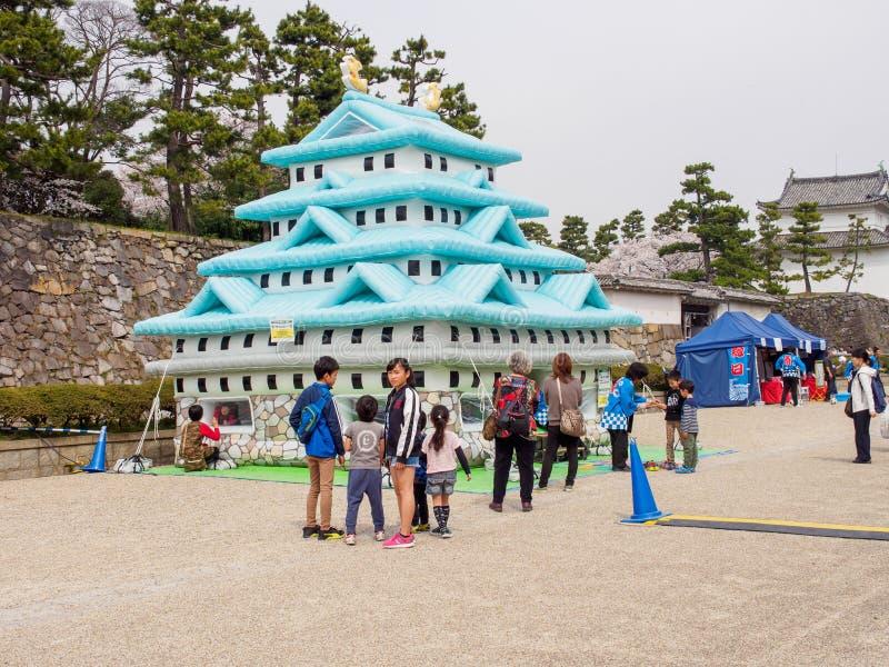 名古屋可膨胀的有弹性的城堡,爱知,日本 免版税库存图片