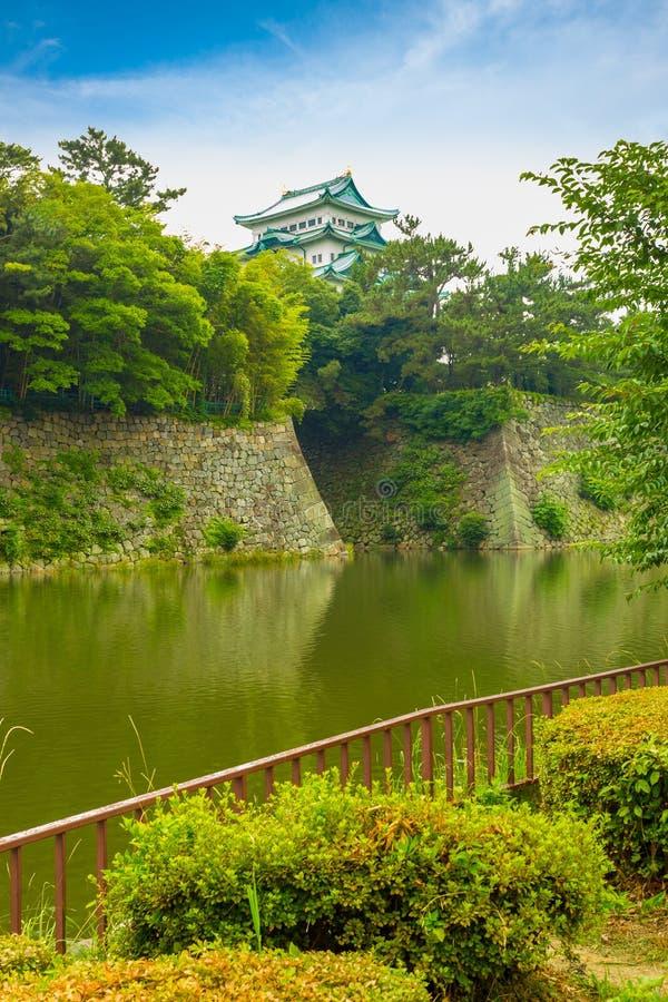 名古屋城堡横跨护城河阴云密布的垒墙壁 库存图片