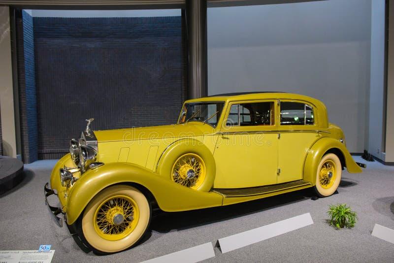 名古屋,日本- 2015年3月29日:罗斯劳艾氏幽灵III被显示在丰田汽车博物馆 库存图片