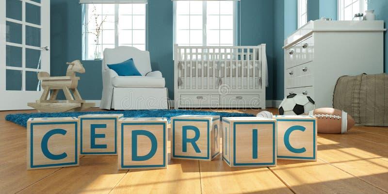 名字塞德里克写与木玩具立方体对于儿童` s室 皇族释放例证