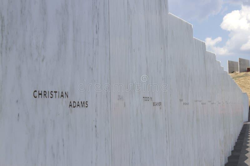 名字墙壁,航班93纪念品 免版税图库摄影