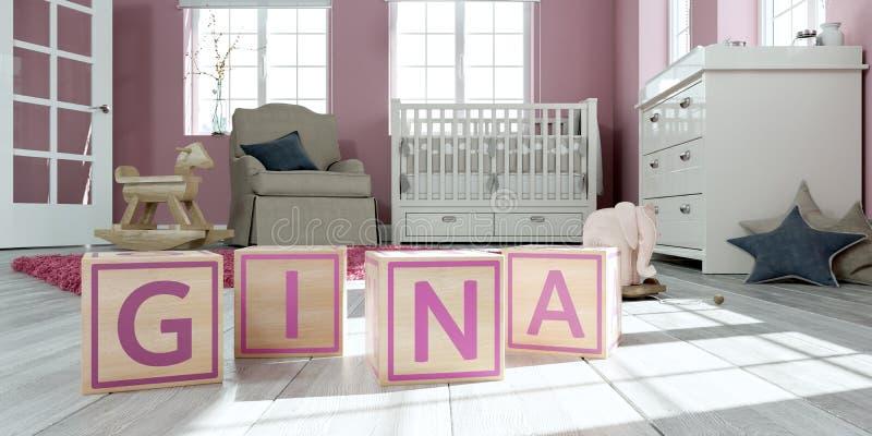 名字姬娜写与木玩具立方体对于儿童` s室 皇族释放例证