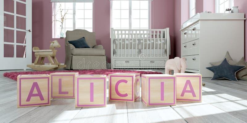 名字艾丽西亚写与木玩具立方体对于儿童` s室 库存例证