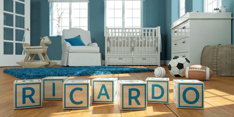 名字里卡多写与木玩具立方体对于儿童` s室 皇族释放例证