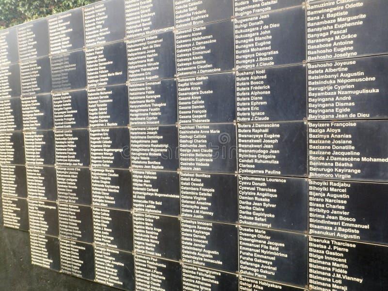 名字,对种族灭绝的受害者,基加利, Rwa的全国纪念品 免版税库存照片