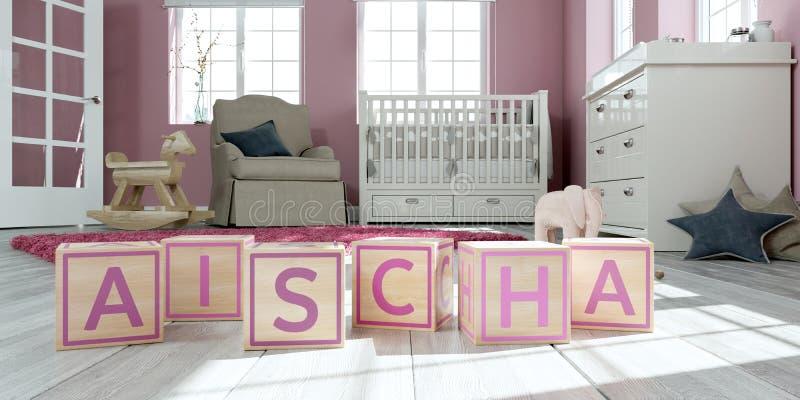 名字aischa写与木玩具立方体对于儿童` s室 皇族释放例证
