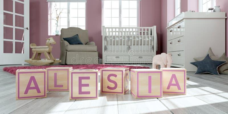 名字alesia写与木玩具立方体对于儿童` s室 库存例证