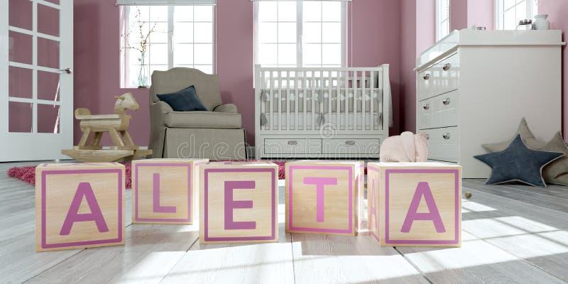 名字aleta写与木玩具立方体对于儿童` s室 向量例证