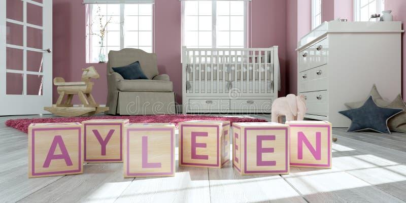 名字ayleen写与木玩具立方体对于儿童` s室 库存例证