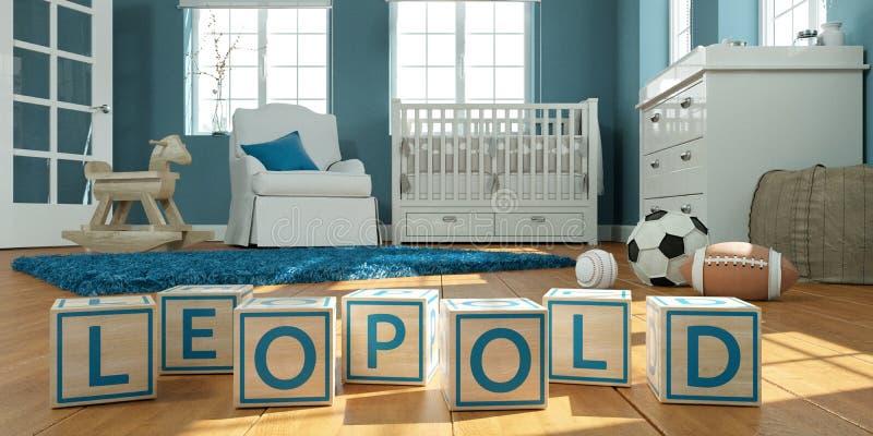 名字leopold写与木玩具立方体对于儿童` s室 库存例证
