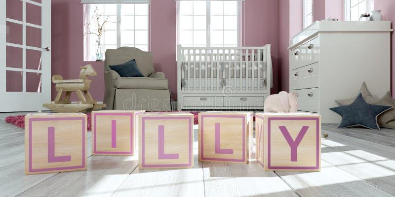 名字lilly写与木玩具立方体对于儿童` s室 向量例证