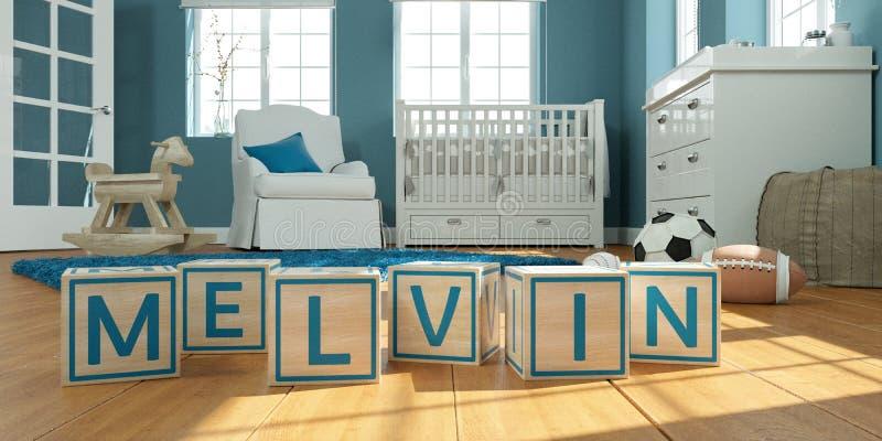 名字melvin写与木玩具立方体对于儿童` s室 向量例证