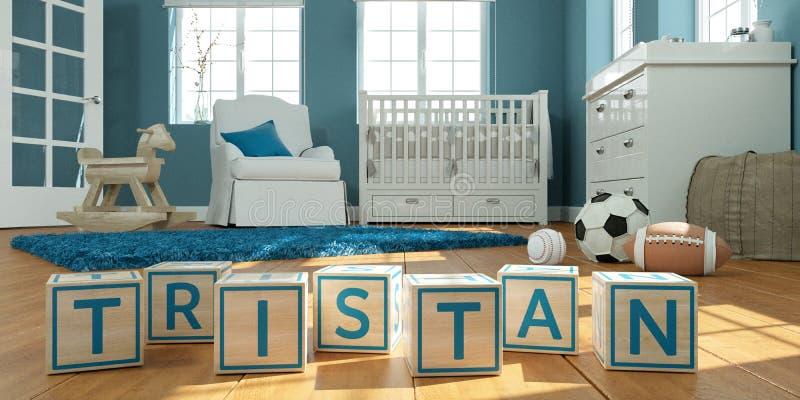 名字tristan写与木玩具立方体对于儿童` s室 库存例证