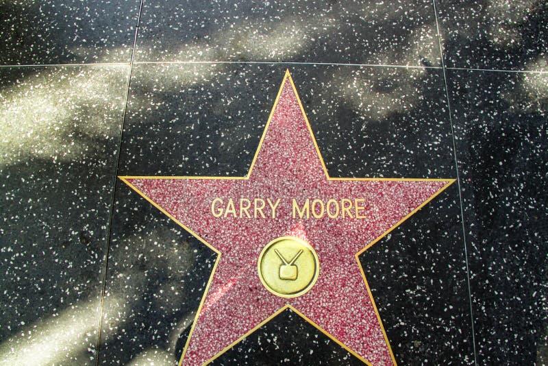 名望好莱坞结构 星名义上Garry穆尔 洛杉矶,美国 免版税库存照片