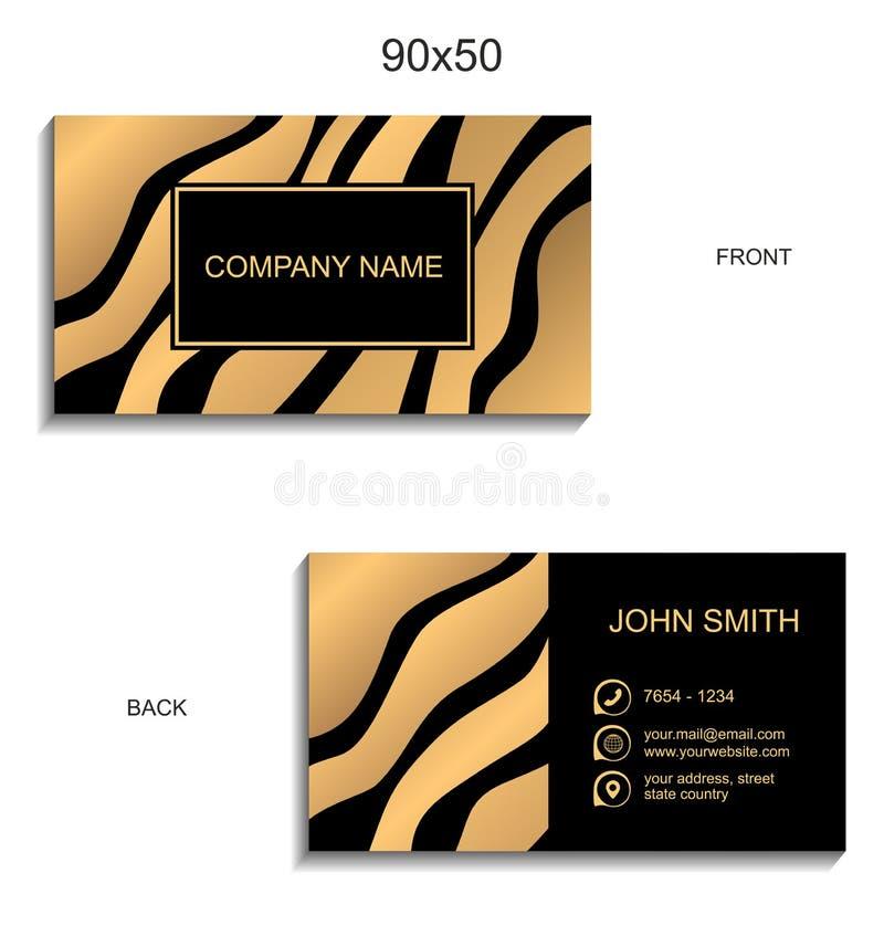 名片与金黄波浪的传染媒介模板在黑背景 创造性的现代设计 库存例证