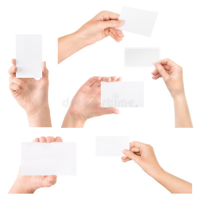 名片在手中查出的集 免版税图库摄影