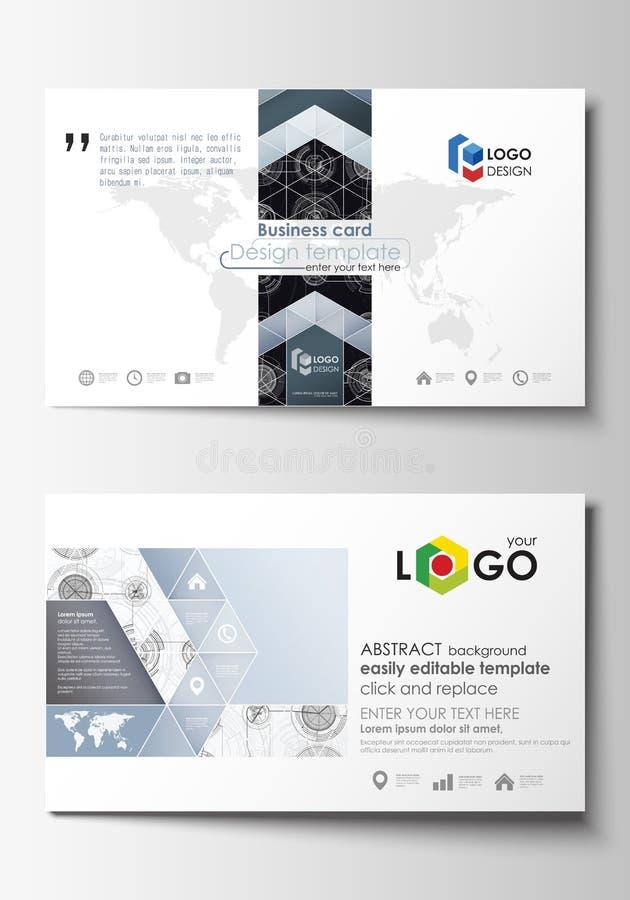 名片影响梯度没有模板 容易的编辑可能的布局,平的样式模板,传染媒介例证 高科技设计,连接 皇族释放例证