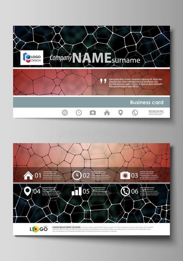 名片影响梯度没有模板 容易的编辑可能的布局,抽象传染媒介设计模板 化学样式,分子纹理 向量例证