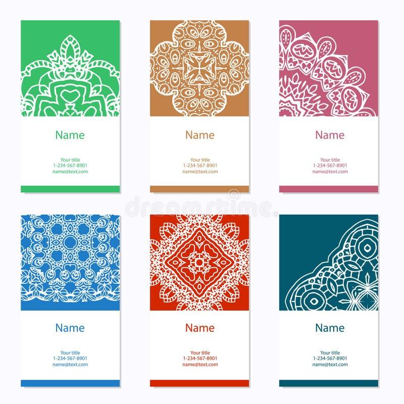 名片收集设计动态现代 您的设计的装饰品与鞋带坛场 向量背景 印地安语,阿拉伯,回教主题 库存例证