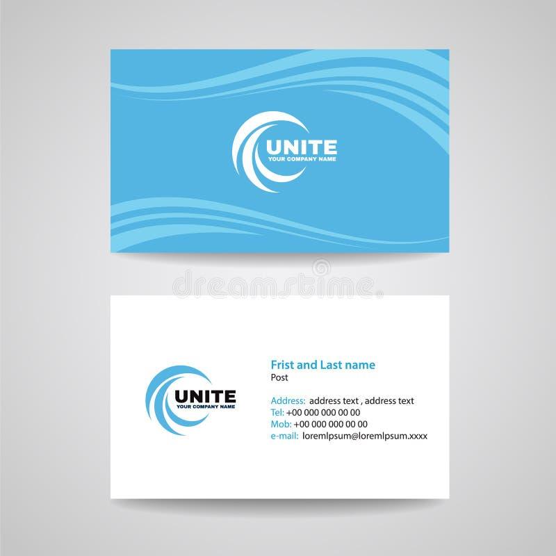 名片背景模板-蓝天波浪样式传染媒介设计 向量例证