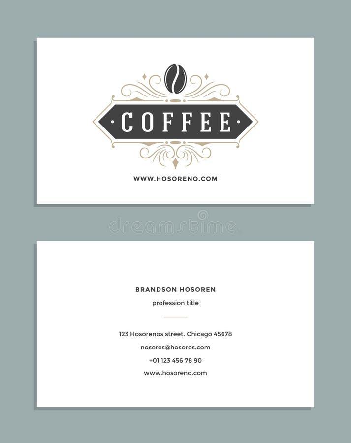 名片设计和减速火箭的样式模板咖啡店商标 皇族释放例证