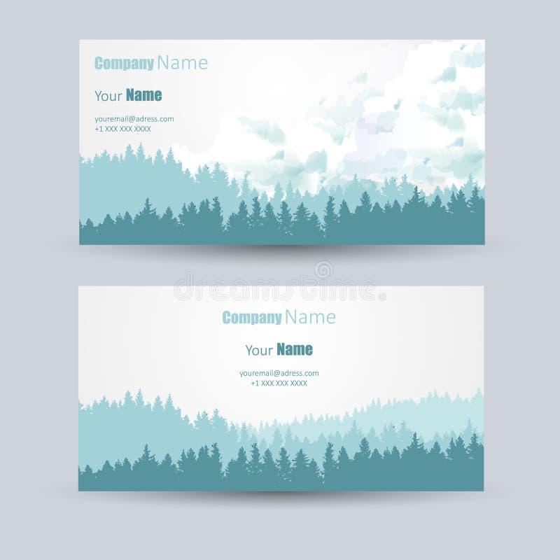 名片设计有杉木森林背景 库存例证