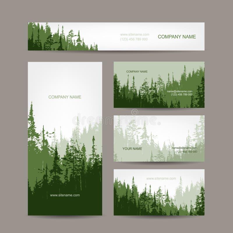 名片设计有绿色森林背景 向量例证