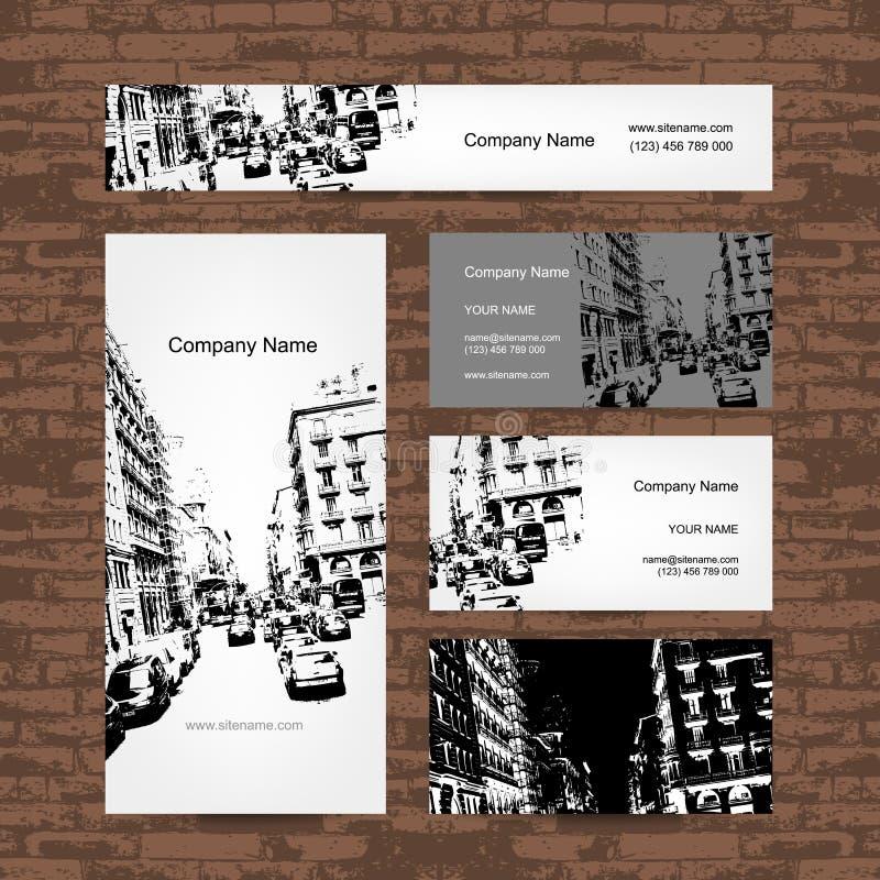 名片,都市设计 巴塞罗那街道 向量例证