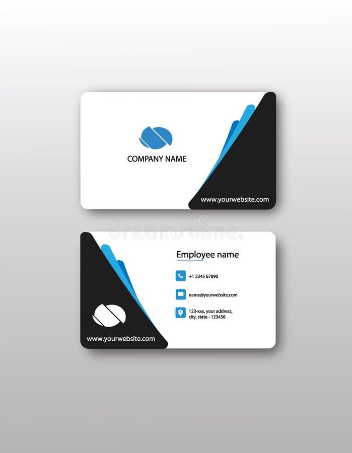 名片:现代黑和蓝色抽象设计 免版税库存图片