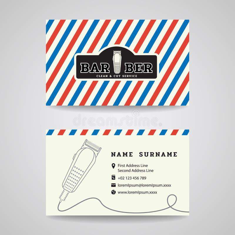 名片-理发店和头发剪刀商标传染媒介设计 库存例证