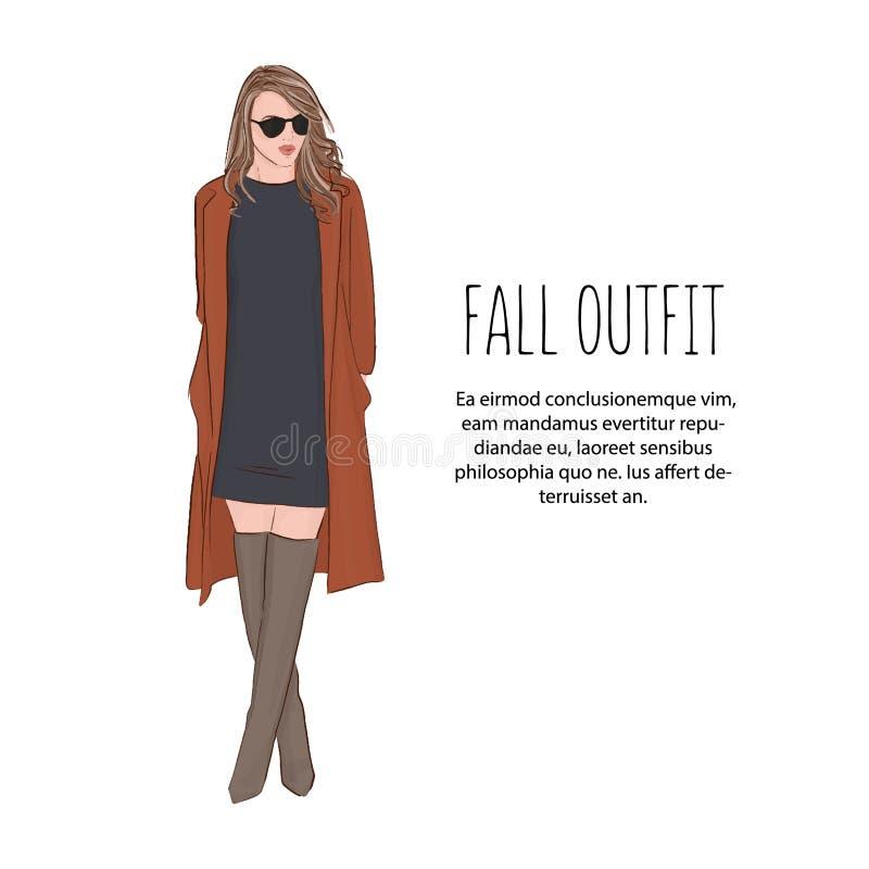 名牌服装剪影的妇女 时髦时尚成套装备 式样女孩佩带的礼服、外套和高度脚跟逗人喜爱的例证 向量 向量例证