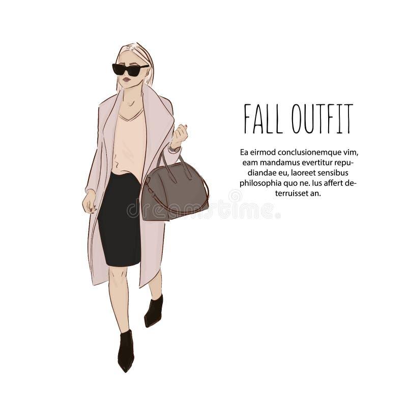 名牌服装剪影的妇女 时髦时尚成套装备 式样女孩佩带的女衬衫、外套、裙子和高度脚跟逗人喜爱的例证 向量例证