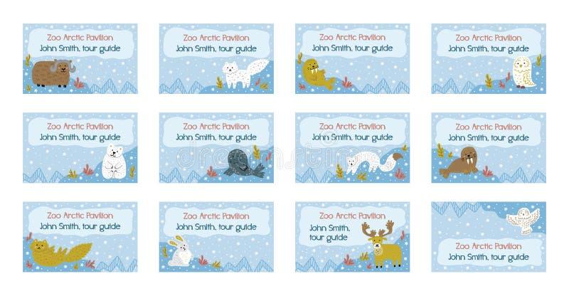 名牌模板的汇集 背景逗人喜爱的冬天 北极的动物 手拉的幼稚例证 边界月桂树离开橡木丝带模板向量 库存例证