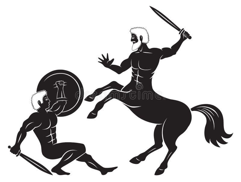 名骑手和赫拉克勒斯 向量例证