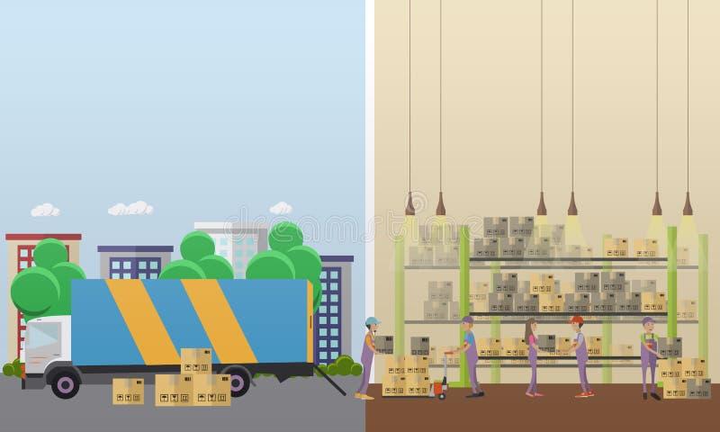 后勤和送货业务概念横幅 内部大商店 在平的样式设计的传染媒介例证 皇族释放例证
