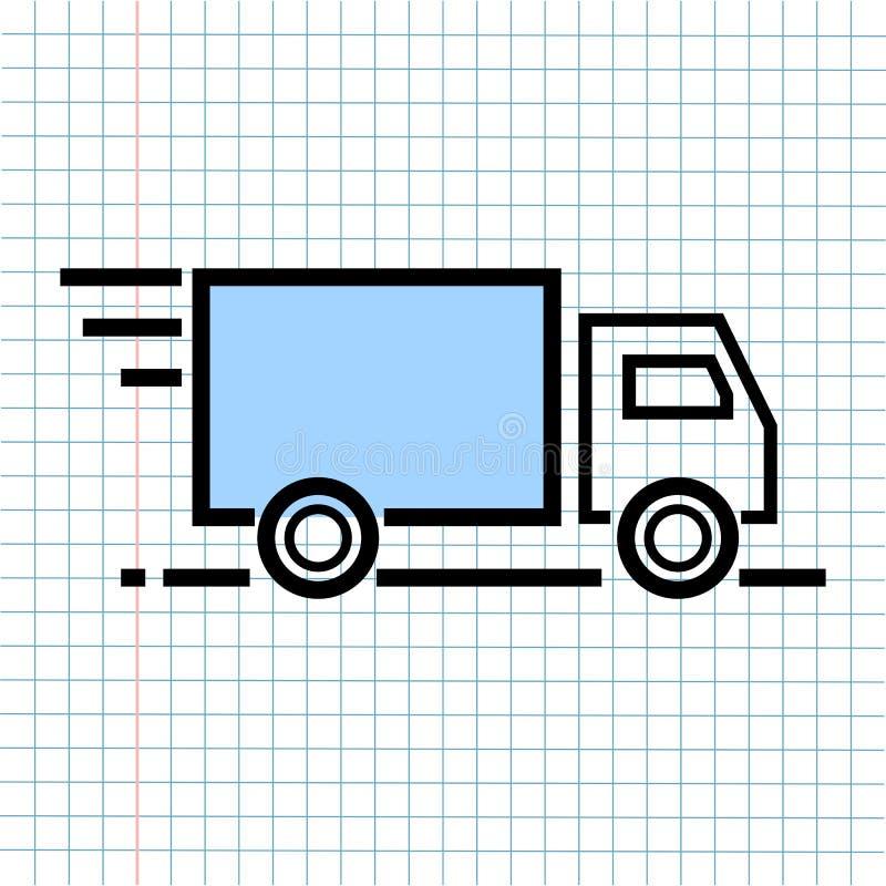 后勤学交付运输在纸笔记背景的标志象,技术通信的媒介象和企业电子商务 皇族释放例证