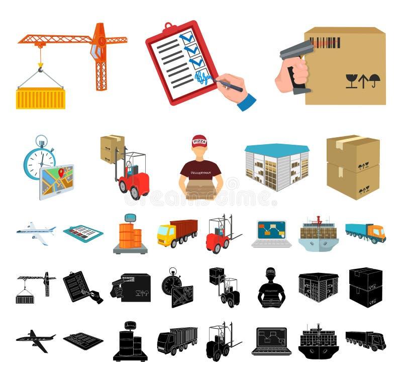 后勤学和交付动画片,在集合收藏的黑象的设计 运输和设备等量传染媒介 皇族释放例证