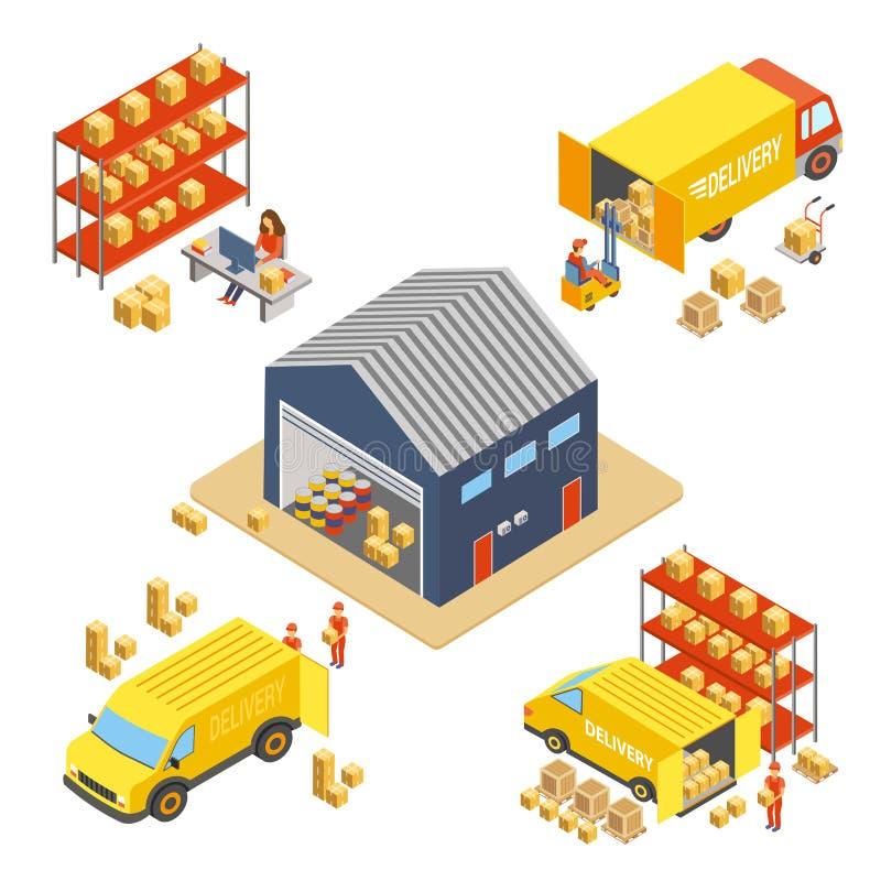 后勤学和交付等量概念设置了与仓库大厦、工作者有交付箱子的和货运 库存例证