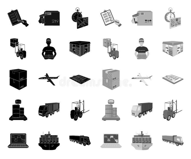 后勤学和交付黑色 在集合收藏的单音象的设计 运输和设备等量传染媒介标志 皇族释放例证