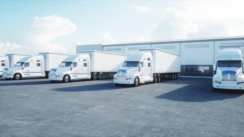 后勤学集中与卡车白色3d模型  后勤,运输和企业概念 3d翻译 库存例证