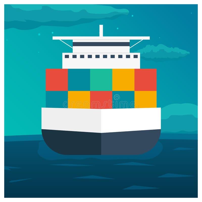 后勤海的运输 船运 活动货物汉堡端口船 传染媒介平的例证 向量例证