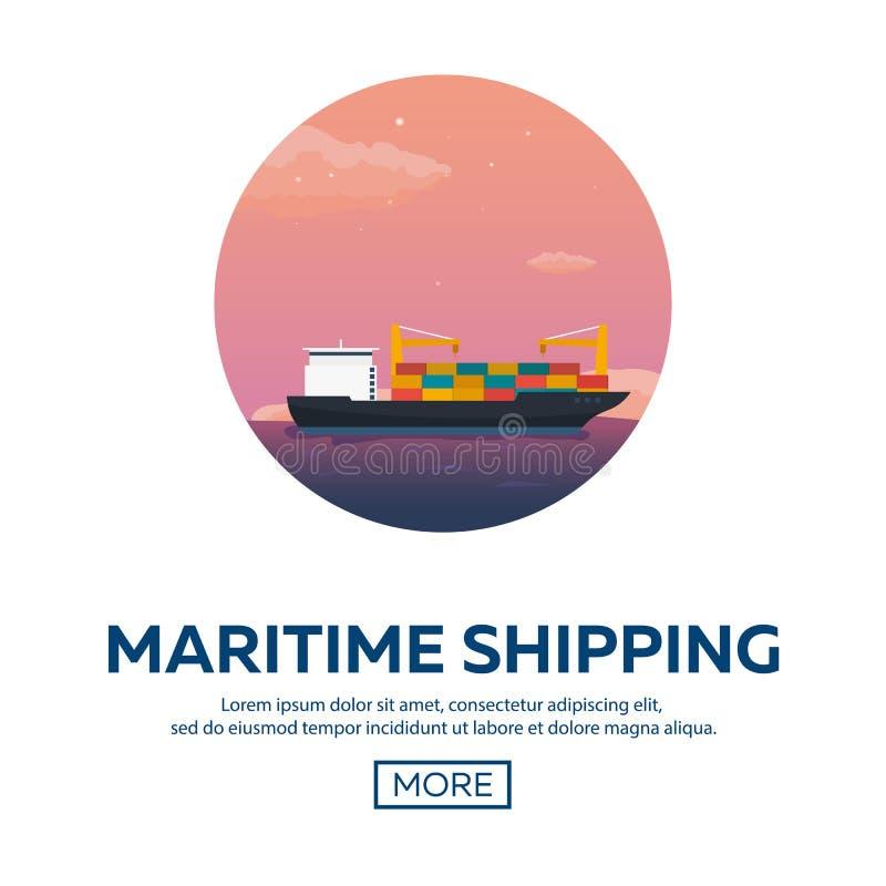 后勤海的运输 船运 海运输 商船 活动货物汉堡端口船 传染媒介平的例证 皇族释放例证