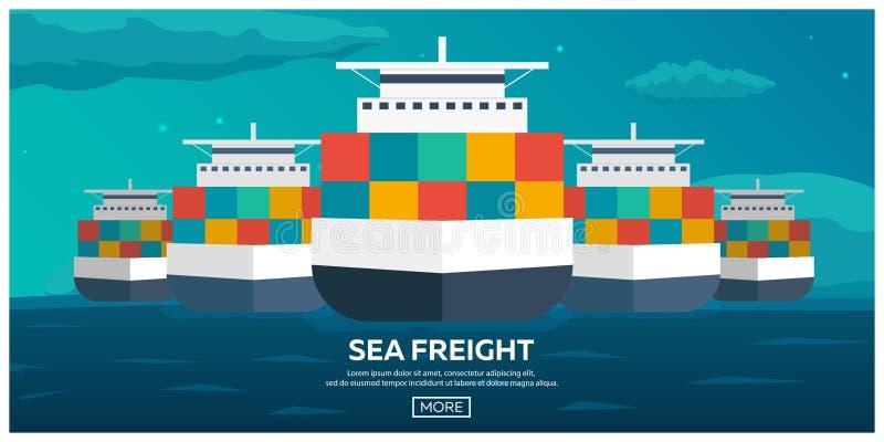 后勤海的运输 船运 海运输 商船 活动货物汉堡端口船 传染媒介平的例证 库存例证
